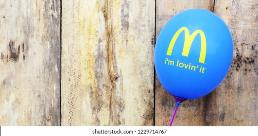 Groningen, Dutch - 14 November, 2018: McDonald's logo on inflatable ball. McDonald's is the world's largest chain of hamburger fast food restaurants.