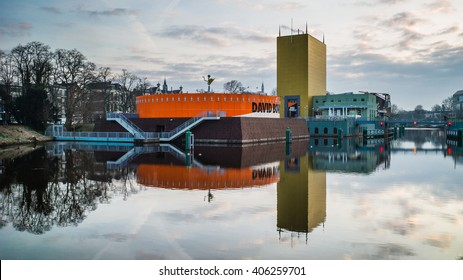GRONINGEN, NETHERLANDS?? FEBRUARY 18, 2016.  View on the Groninger Museum hosting a Bowie exhibition in the city on a early morning in February. Picture taken in Groningen on February 18, 2016.