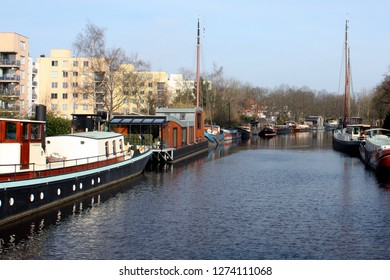 Groningen. February-27-2013. Houseboats in a canal in the city of Groningen. The Netherlands