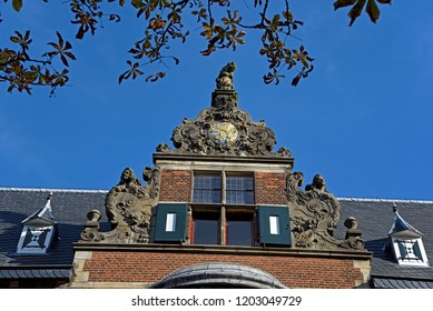 groningen, groningen/netherlands  - october 12, 2018:  gable of the historic provincial government and administration building at martinikerhof