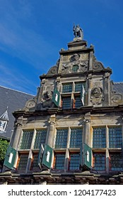 groningen, groningen/netherlands  - october 12, 2018:  facade and gable of the historic portierswoning part of the provincial government and administration building at martinikerhof