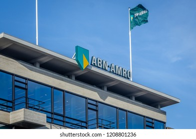 Groningen, Holland - 19 october 2018: Office of ABN AMRO. A dutch large bank