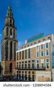 Groningen, Holland - 19 october 2018: Vindicat building and the Martini church at the City centre of Groningen