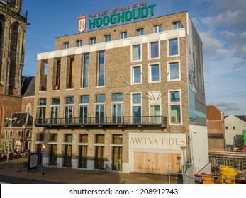 Groningen, Holland - 19 october 2018: Building of a Dutch Student association. Standing in the center of Groningen