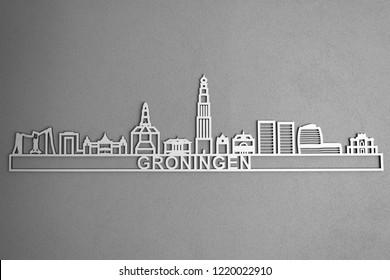 Groningen, Holland, Netherlands:  Skyline city shape, building design of Groningen city