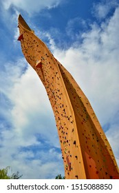 Groningen, Holland - SEPTEMBER 8,2012: Excalibur climbing wall. Tower named after the mythical sword of King Arthur is considered the tallest freestanding climbing wall in the world.