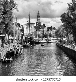 Groningen. July-29-2017. Historic ships at the Hoge der Aa in the city of Groningen in black and white photography . The Netherlands