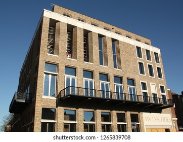 """Groningen. March-11-2014. The facade of the new student society """"Mutia Fides"""" in the city of Groningen. The Netherlands"""