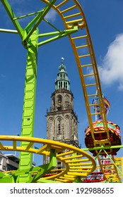 GRONINGEN - MAY 15: cool attractions and scary rides on a beautiful day at the fair ground on may 15 2014, Groningen, Netherlands.