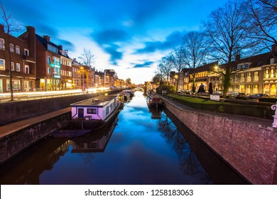 Groningen, The Netherlands - 13-12-2018 : Nice view on the canals in Groningen from the Ebbingebrug in Groningen