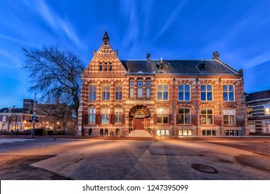 GRONINGEN, NETHERLANDS, 27 DECEMBER, 2016: Former Groningen Museum in historic part of Groningen city at twilight in HDR