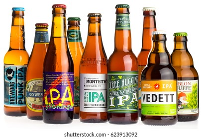 GRONINGEN, NETHERLANDS - APRIL 15, 2017: Collection of Brewdog, Groningen, Kona, Freeride, Anchor, Flying Dutchman, Monteiths, Vedett and La Chouffe Indian Pale Ale beers isolated on white background