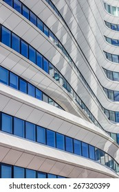 GRONINGEN, NETHERLANDS - APRIL 5: Lines and curves of a contemporary office building on April 5, 2015 in Groningen.