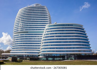 GRONINGEN, NETHERLANDS - APRIL 5: Modern office building of the dutch tax authorities on April 5, 2015 in Groningen.