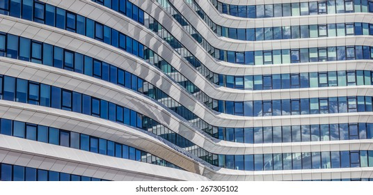 GRONINGEN, NETHERLANDS - APRIL 5: Panorama of a contemporary office building on April 5, 2015 in Groningen.