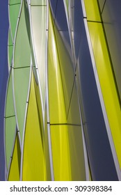 GRONINGEN, NETHERLANDS - AUGUST 1: Green, yellow and silver curves of the university hospital on August 1, 2015 in Groningen.