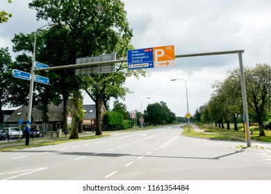 GRONINGEN, NETHERLANDS, AUGUST 15, 2018: Road signs near the airport of Groningen (Eelde), Netherlands on a sunny day