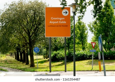 GRONINGEN, NETHERLANDS, AUGUST 15, 2018: Signage of the airport of Groningen (Eelde), Netherlands on a sunny day
