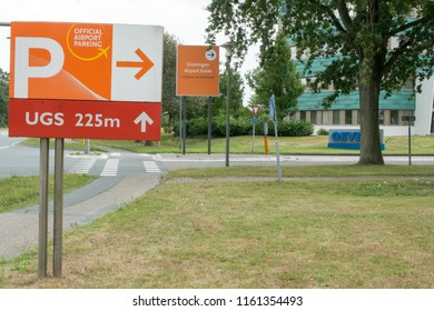 GRONINGEN, NETHERLANDS, AUGUST 15, 2018: Signage of parking on the airport of Groningen (Eelde), Netherlands