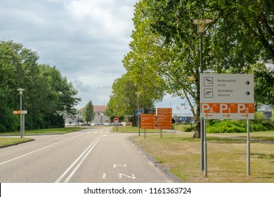 GRONINGEN, NETHERLANDS, AUGUST 15, 2018: Signage of the airport of Groningen (Eelde), Netherlands