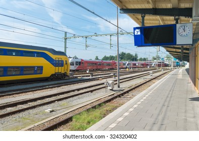 GRONINGEN, NETHERLANDS - AUGUST 22, 2015: Train platform at the groningen central train station. This station is the main railway hub of the northeastern part of the country