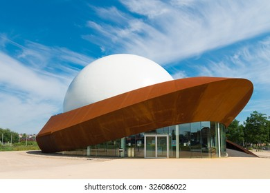 GRONINGEN, NETHERLANDS - AUGUST 22, 2015: Infoversum 3D theater exterior. It consists of a projection dome with a magnitude of 23 meters, surrounded by a construction of Cor-ten steel.