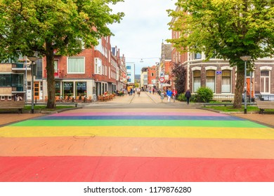 Groningen, Netherlands - August 31, 2018: Rainbow Colored Street In Groningen