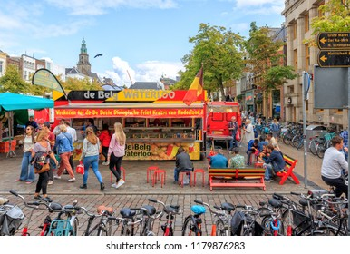 Groningen, Netherlands - August 31, 2018: People At The Market In Groningen