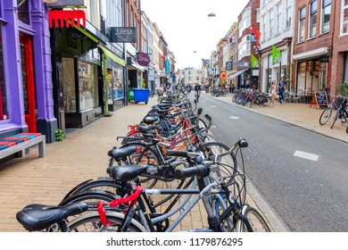 Groningen, Netherlands - August 31, 2018: Parked Bicycles In Groningen