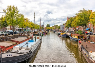 Groningen, Netherlands - August 31, 2018: Boats In The Canals At Groningen