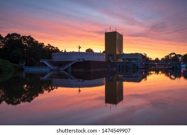 GRONINGEN - THE NETHERLANDS, August 9, 2019: the Groninger Museum during a colorful dawn in Groningen.