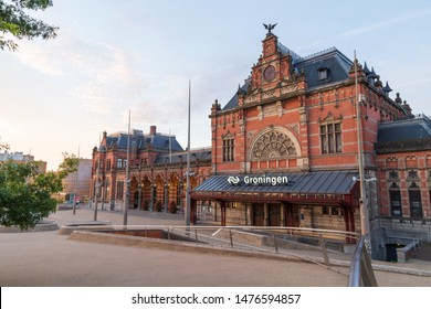 GRONINGEN - THE NETHERLANDS, August 9, 2019: the monumental train station in Groningen on an early morning.