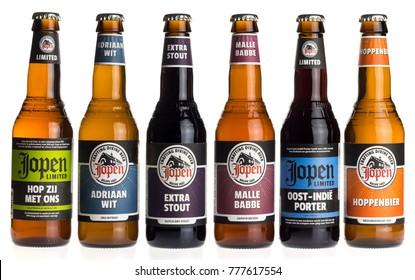 GRONINGEN, NETHERLANDS - DECEMBER 18, 2017: Collection of Dutch craft beers by Jopen brewery in Haarlem, The Netherlands