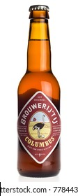 GRONINGEN, NETHERLANDS - DECEMBER 19, 2017: Bottle of Brouwerij t IJ Columbus beer isolated on a white background