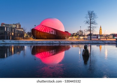 GRONINGEN, NETHERLANDS - DECEMBER 5, 2016: Infoversum 3D theater exterior. It consists of a projection dome surrounded by a construction of Cor-ten steel.