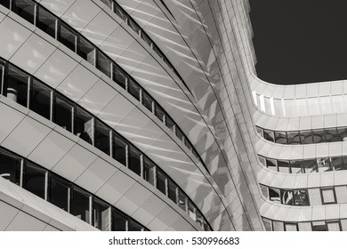 GRONINGEN, NETHERLANDS December 5, 2016: Lines and curves of the contemporary office building that is the home of the tax authorities in Groningen.