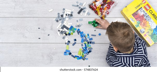 Groningen, NETHERLANDS - FEBRUARY 07, 2017: Lego is a line of plastic construction toys that are manufactured by The Lego Group, a privately held company based in Billund, Denmark.