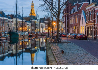 GRONINGEN, NETHERLANDS  ?? FEBRUARY 15, 2016. Evening view of the Aa river (Drentsche Aa) with tower of the A-Church (Aa-Kerk). Picture taken in Groningen on February 15, 2016.