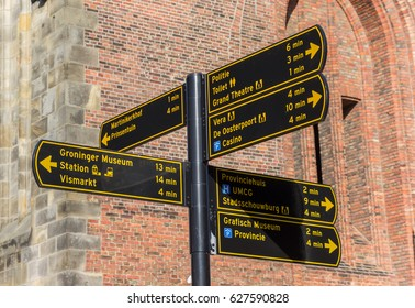 GRONINGEN, NETHERLANDS - FEBRUARY 15, 2017: Tourist sign in front of the Martini church in Groningen, Netherlands