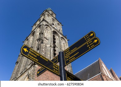 GRONINGEN, NETHERLANDS - FEBRUARY 15, 2017: Tourist sign in front of the Martini tower in Groningen, Holland