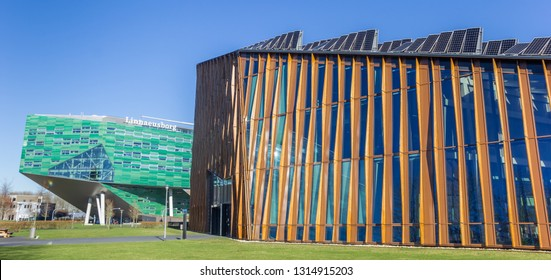 GRONINGEN, NETHERLANDS - FEBRUARY 15, 2019: Panorama of modern architecture of the Zernike campus in Groningen, Netherlands