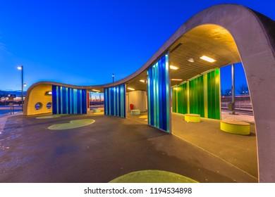 GRONINGEN, NETHERLANDS - JANUARY 12, 2017: Transferium Hoogkerk modern design bus stop during blue hour, one of the landmarks of Groningen city
