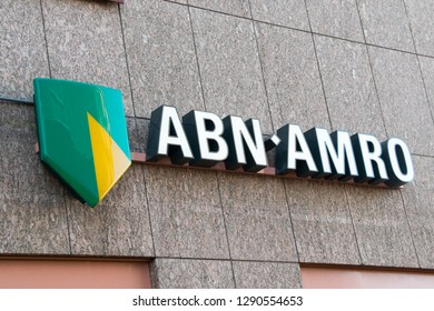 GRONINGEN, NETHERLANDS - JANUARY 19, 2019: Brand name logo of an ABN AMRO bank on local branch office, Netherlands