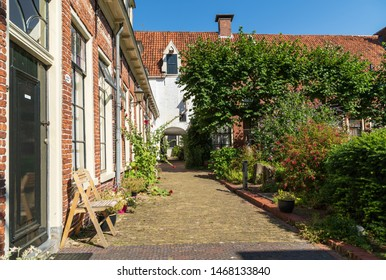 GRONINGEN - NETHERLANDS, July 30, 2019: public courtyard 'Pepergasthuis' in the Dutch city of Groningen on a summers day.