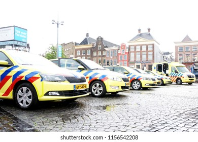 Groningen, The Netherlands, JUNE 16, 2016: Many ambulance cars of emergency medical services parked on the center of Groningen, Grote Markt, in The Netherlands, Europe