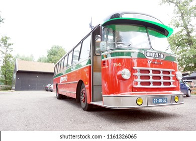 GRONINGEN, NETHERLANDS, JUNE 16, 2016: Old Daf bus of Groningen in the city center of Groningen
