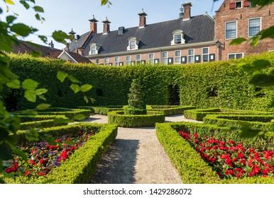 GRONINGEN - THE NETHERLANDS, June 18, 2019:   Hidden renaissance style park Prinsentuin in the inner city of Groningen, the Netherlands.