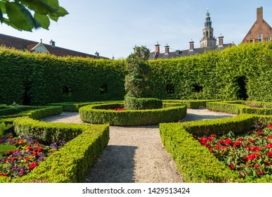 GRONINGEN - THE NETHERLANDS, June 18, 2019: renaissance style park 'Prinsentuin' and the Martinitoren in the inner city of Groningen, the Netherlands.