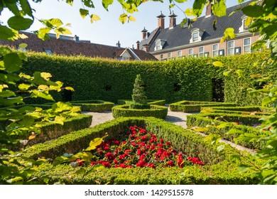 GRONINGEN - THE NETHERLANDS, June 18, 2019: hidden renaissance style park 'Prinsentuin' in the inner city of Groningen, the Netherlands.