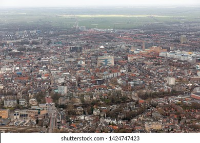Groningen, The Netherlands - March 01, 2018: Aerial view skyline city of Goningen, The Netherlands